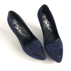 Alice & Olivia Blue Suede Platform Wedge Loafer 38